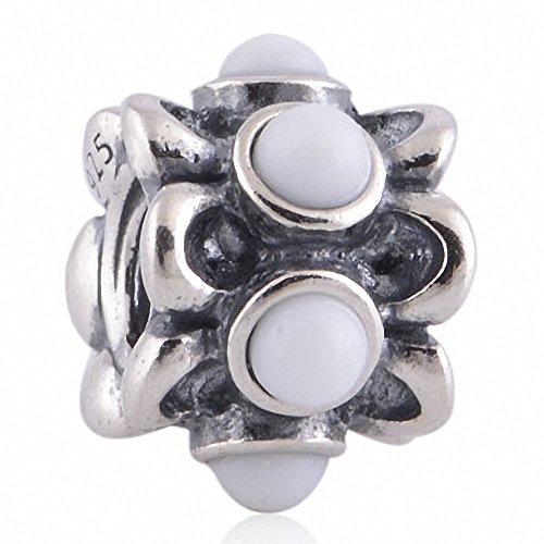 TAOTAOHAS antico genuino sterling 925 argento charms beads perline [ non-ti-scordar-di-mé, White ] bracciali europea, cristallo w