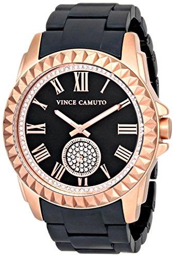 Vince Camuto para mujer reloj infantil de cuarzo con esfera analógica y de cerámica de color negro pulsera VC-5190RGBK