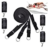 Under the Bed Bondage Restraint Straps Adjustable Kits With Cuffs For Ankles And Wrists Fits Almost Any Size Mattress Superior Nylon Black