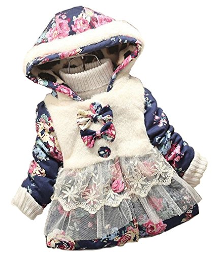 Baby Girl Floral Bowknot Thickened Warm Jacket Winter Coat 18-24Months Blue