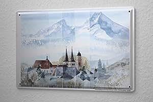 franz heigl plaque maill e d coration murale aventurier montagnes de la tour de l 39 glise. Black Bedroom Furniture Sets. Home Design Ideas