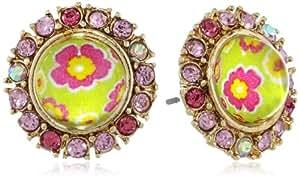 "Betsey Johnson ""Spring Glam"" Floral Bead Stud Earrings"
