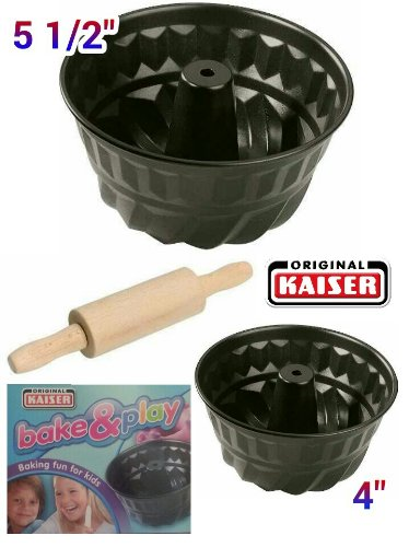 Kaiser Bake & Play 3 Piece Children Baking Set, Bundforms & Rolling Pin, with Kids Recipe image