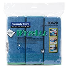 Kimberly-Clark Wypall 83620 Microfiber Cloths with Microban Protection, 15-3/4&#034; Length x 15-3/4&#034; Width, Blue (4 Packs of 6)
