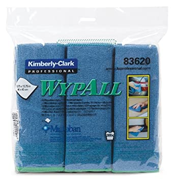 "Kimberly-Clark Wypall 83620 Microfiber Cloths with Microban Protection, 15-3/4"" Length x 15-3/4"" Width, Blue (4 Packs of 6)"