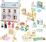 Le Toy Van Mayberry Manor and Dolls with 6 Big Game Hunters Sweetbee Dolls House Furniture Sets - Wooden Dolls House Package