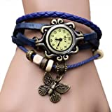 Zeagoo Womens Quartz Butterfly Weave Wrap Synthetic Leather Bracelet Wrist Watch Blue