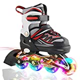 Kuxuan Boy's Ciro Adjustable Kids Inline Skate with Light up Wheels Red L