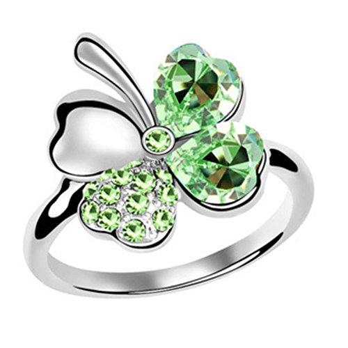 "RI96004C1-8 New Style ""Sweet Four Leaf"" Austrian Crystal Alloy Ring"