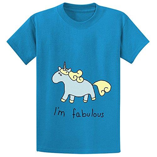 Snowl Fabulous Unicorn I Am Fabulous Teen Crew Neck Cotton T-shirt Blue (Peter Pan Pillow Pet compare prices)