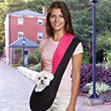 East Side Collection Polyester Reversible Sling Dog Carrier, Black and Pink