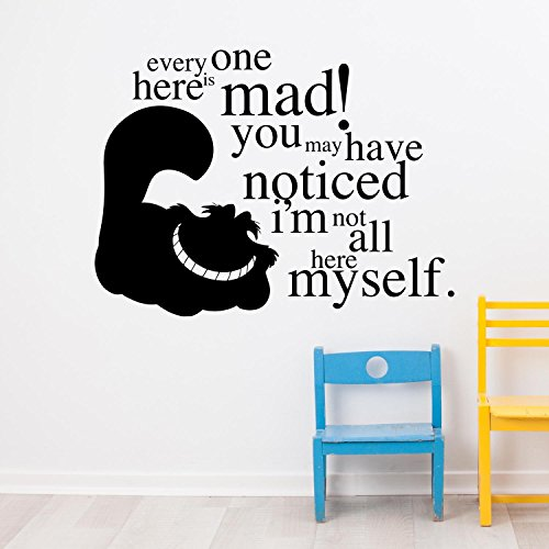 Adesiviamo® Cheshire Cat Alice in Wonderland - every one here is mad! Wall sticker decal adesivo da muro