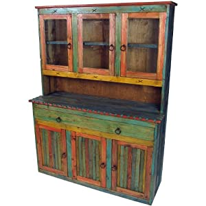 Mexican painted wood china cabinet with glass for China kitchen cabinets direct