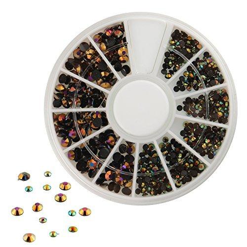 300pcs 3D Nail Art Tips Black Gems Crystal Glitter Rhinestone DIY Decoration Kit With Wheel (Gem Nail Kit compare prices)