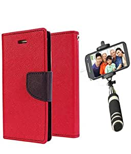 Aart Fancy Diary Card Wallet Flip Case Back Cover For Mircomax A102 -(Red) + Mini Aux Wired Fashionable Selfie Stick Compatible for all Mobiles Phones By Aart Store