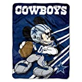 NFL Dallas Cowboys Mickey Mouse Ultra Plush Micro Super Soft Raschel Throw Blanket