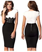 New Fashion Womens Empire Vintage Crochet Lace Square Neck Bodycon Fitted Shift Party Pencil Dress White M