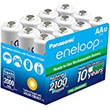 Panasonic BK-3MCCA12SA eneloop AA 2100 Cycle Ni-MH Pre-Charged Rechargeable Batteries (Pack 12)