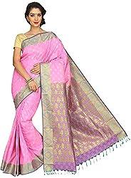Evila Women's Raw Silk Saree (RSE-206, Pink)