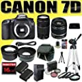 Canon EOS 7D Digital SLR Camera Kit with 18-55mm IS II Lens and Canon EF 75-300mm III Lens + 16GB Green's Camera Package