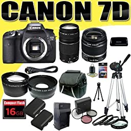 Canon EOS 7D Digital SLR Camera Kit with 18-55mm IS II Lens and Canon EF 75-300mm III Lens + 16GB Green\'s Camera Package