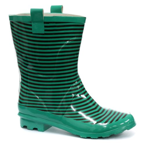 Teal/Black Striped Welly Womens Wellington Boots, Size 8