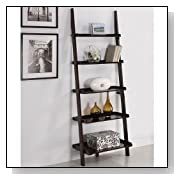 Walnut Five-tier Leaning Ladder Bookshelf