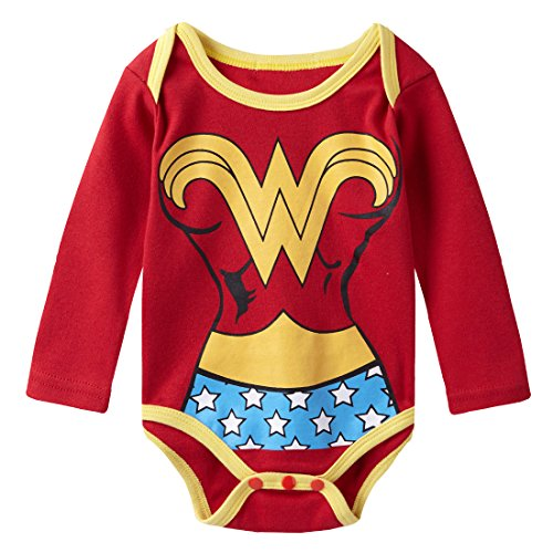 A&J Design Baby Girls' Wonder Women Long Sleeve Bodysuit Snapsuits 18-24 Months