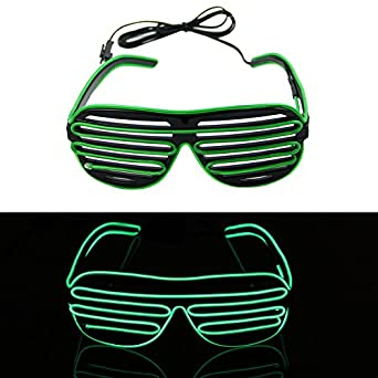 YSTD® Fashion El Wire Neon LED Light Up Shutter Shaped Glasses for Rave Costume Party