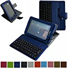 Mama Mouth Rotary Stand Case with Removable Micro USB Keyboard for 7 Verizon Ellipsis 7 4g LTE (Qmv7a) Tablet Dark Blue