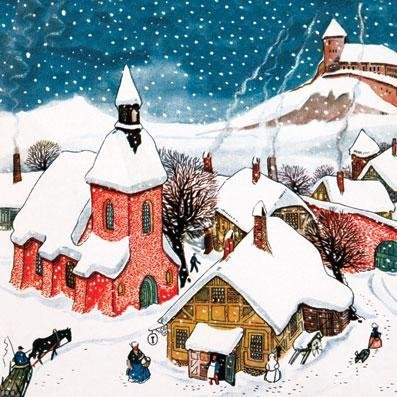Charity Christmas cards - Village Christmas - 8 charity cards sold in support of Marie Curie Cancer Care