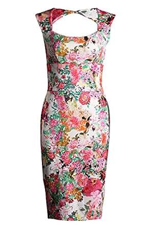 Fast Fashion - Robe Sans Manches Imprimé Floral Serrure Moulante Amoureux - Femmes (EUR 36, Corail Floral)