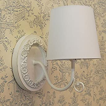 French country shabby chic style ivory oval wall light white cotton - Wall lights, LED bathroom ...