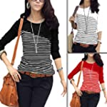 Lady Round Neck Long Sleeve Bar Strip...