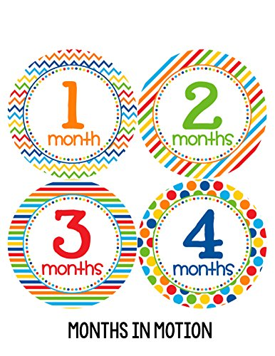 Months in Motion 318 Baby Boy Month Stickers for Newborn Primary Colors