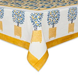 Couleur Nature Lemon Tree Tablecloth, 90-inches, Blue/Yellow