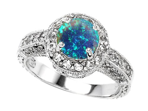 Original Star K Created Blue Opal Round Engagement Ring