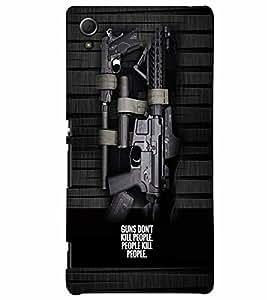 PrintVisa Gun Quotes 3D Hard Polycarbonate Designer Back Case Cover for Sony Xperia Z4