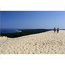 Photographic Print of Couple walking on the Dunes du Pyla, Bay of Arcachon, Cote d Argent