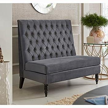 Sofaweb Silver/Grey Velvet Tufted Upholstered Banquette Bench