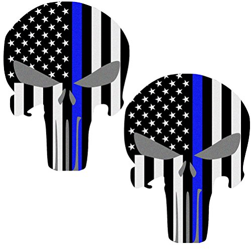 Reflective Punisher Skull 5.5 x 4.1 inch & US flag Decals with Thin Blue Line for Cars & Trucks, American USA Flag Decal Sticker Honoring Police Law Enforcement Window Bumper Vinyl Stickers (2-PACK) (Punisher Truck Window Decal compare prices)