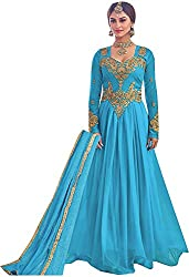 Go Traditional Women's Lycra Unstitched Dress Material (Blue)