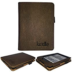 IndiSmack Rich Executive PU Leather Flip Case For Kindle Paperwhite New 6 Tablet Front & Back Flap Cover Holder (TAN Color)