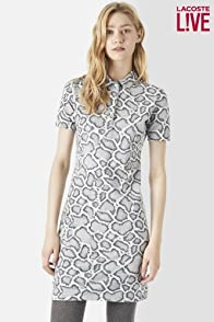L!VE Short Sleeve Zipper Back Snake Print Polo Dress
