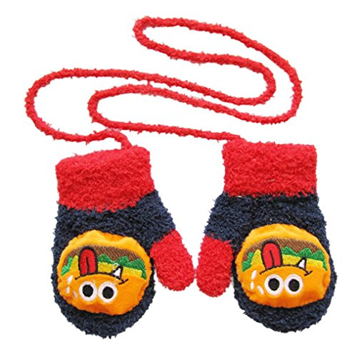DZT1968 1 Pair Winter Baby Cute Cartoon Gloves Mittens With String (0-12 Months) (Navy)