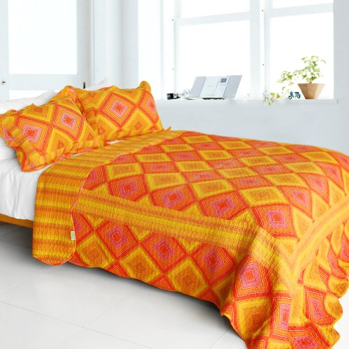 [Burning Flame] Cotton 3Pc Vermicelli-Quilted Striped Printed Quilt Set (Full/Queen Size) front-894070