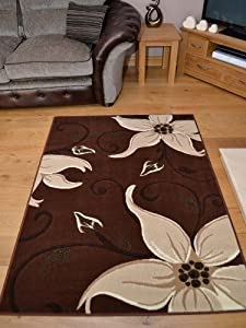 Lily Brown And Cream Floral Design Rug. Available in 5 Sizes (160cm x 220cm) from Rugs Supermarket