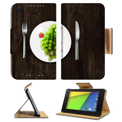 Green Grapes Fork Knife Dish Asus Google Nexus 7 Fhd Ii 2Nd Generation Flip Case Stand Magnetic Cover Open Ports Customized Made To Order Support Ready Premium Deluxe Pu Leather 8 1/4 Inch (210Mm) X 5 1/2 Inch (120Mm) X 11/16 Inch (17Mm) Luxlady Nexus 7 P