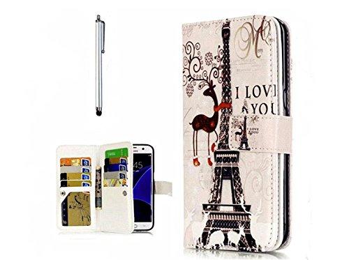 KSHOP Book Style PU Cuir Portefeuille Etui pour Samsung Galaxy S7 Shell Flip Stand Support Fonctiom Portefeuille Coque Housse Fermeture Magnétique