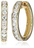 14k Gold Channel-Set Diamond Hoop Earrings (1 cttw, H-I Color, I1-I2 Clarity)
